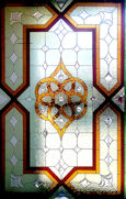 geometric style stained glass window