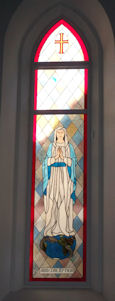 mary stained glass church panel